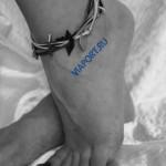 529_2 (Фенечка кожаная на ногу ручной работы)