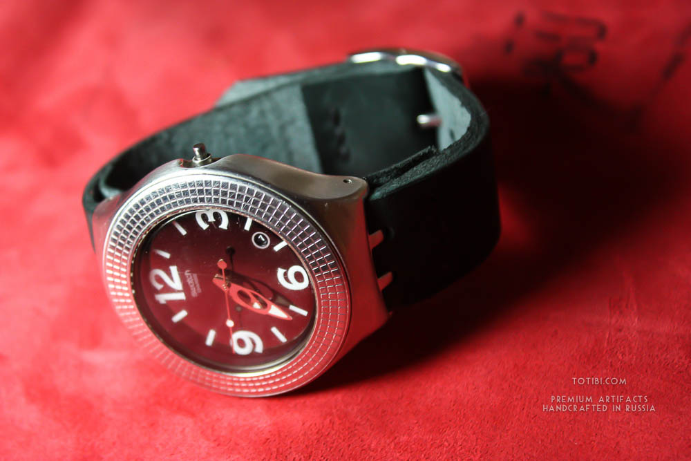 Толстый кожаный ремешок для часов ручной работы для часов Swatch купить в Москве. . Сделано в России
