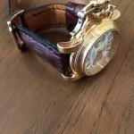 Часовой ремень ручной работы для золотых часов Graham. Из кожи рогатого крокодила коричневого цвета. Полностью ручная работа. Сделано в Москве, доставка по России и миру.
