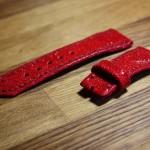 Ремешок ручной работы из красного шлифованного ската для часов Lorenzo Pozzan