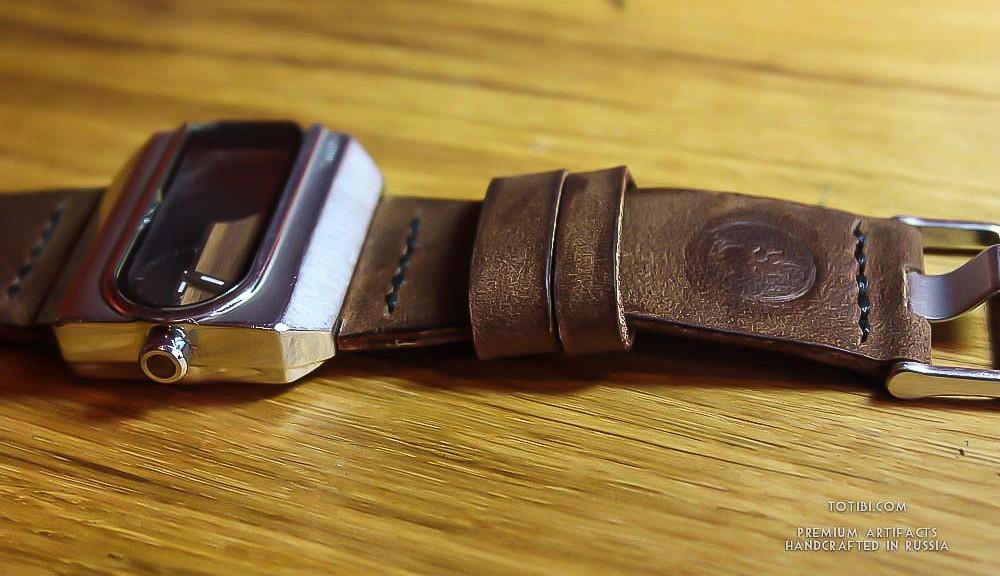 крепкий кожаный часовой ремешок ручной работы для мужских часов Fossil в Москве с доставкой по России