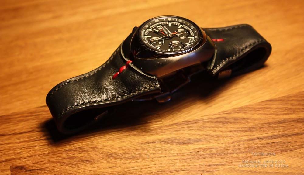 часовой ремешок ручной работы из лошадиной кожи для часов Pirelli p-zero. Изготовлен вручную в Москве доставляется по России и зарубеж.