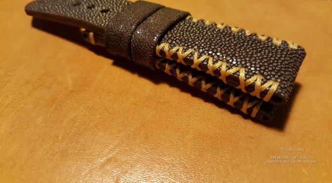 Ремешок для часов Panerai из кожи ската, ручная работа, сделано в Москве.