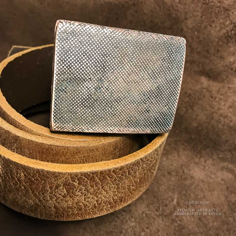 Ремень для джинс с медной пряжкой. Толстая однослойная Индийская кожа растительного дубления. Винтажная.