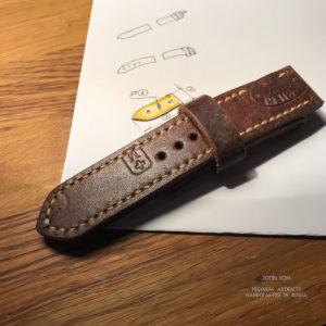 Ремешок из швейцарской винтажной патронной сумки для Panerai ручная работа сделано в Москве.