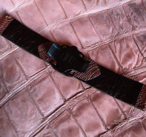 Ремешок изската и кожи ноги страуса на застежке бабочке Cartier для беговых фтнес часов Garmin. Ручная работа Москва.