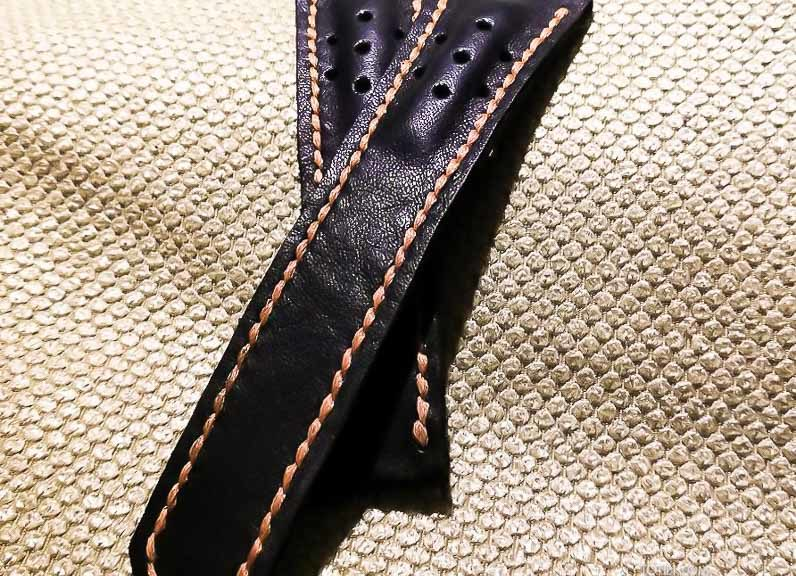 Кожаный ремешок ручной работы для часов Gag Heyer перфорированный вручную