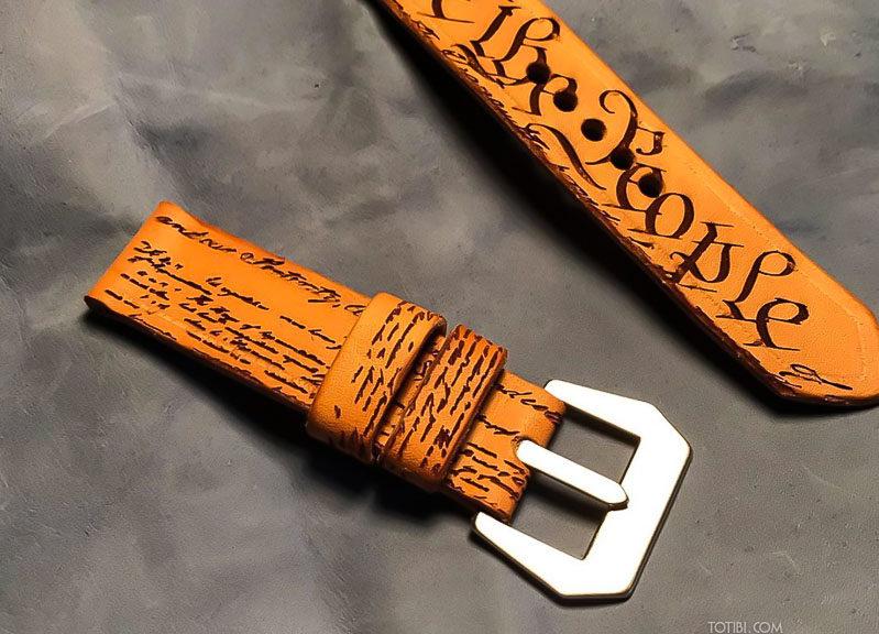 кожаный ремешок ручной работы с биллео о правах америки сделан в Москве с доставкой по России